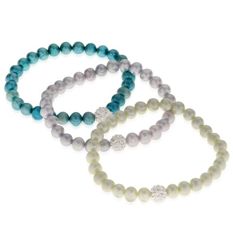 PearLustre by Imperial 3pc Freshwater Pearl and Crystal Stretch Bracelet Set