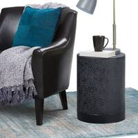 WYNDENHALL Kane Metal Accent Side End Table in Two Tone Finish