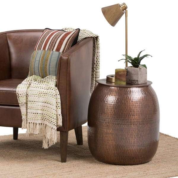Safavieh Corey Antique Copper Coffee Table: Shop WYNDENHALL Riva Metal Storage Accent Side End Table