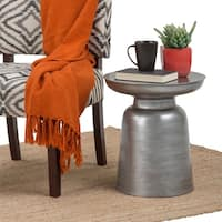 WYNDENHALL Layne Metal Accent Side End Table in Silver