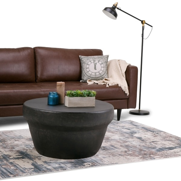 Bronze Metal Round Coffee Table: Shop WYNDENHALL Beaton Round Metal Coffee Table In Rustic