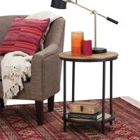 WYNDENHALL Alrich Round Solid Mango Wood and Metal Side Accent Table in Natural Finish