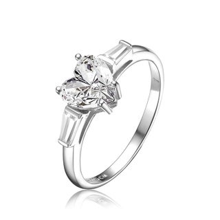 Collette Z Heart Shaped White Cubic Zirconia Accent Square Shaped Sterling Silver Ring