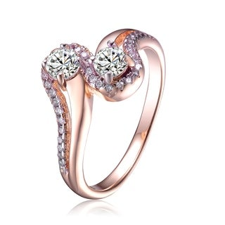 Collette Z White Cubic Zirconia Accent Rose Gold Plated Silver Size 6 Ring
