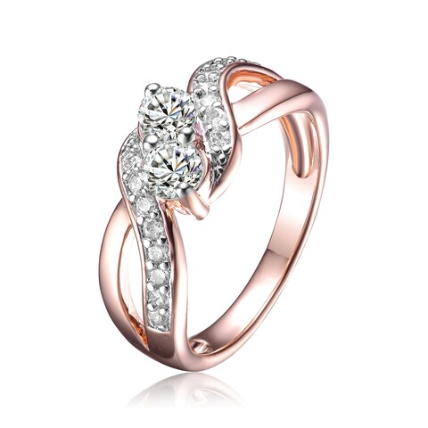 Collette Z White Cubic Zirconia Infinity-Inspired Rose Gold Plated Silver Size 6 Ring