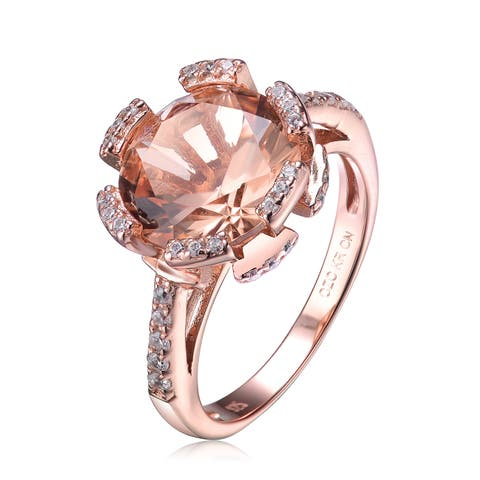 Collette Z Clear and Peach Cubic Zirconia Rose Gold Plated Ring
