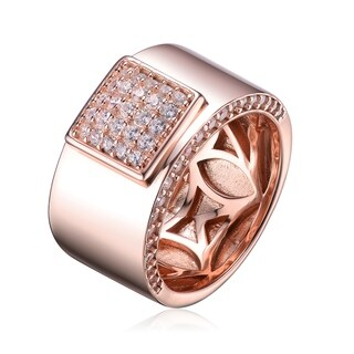 Collette Z Clear and Cubic Zirconia Rose Gold Plated Sterling Silver Engraved Band