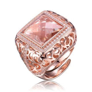 Collette Z Classic Design Peach Cubic Zirconian Rose Gold Plated Sterling Silver