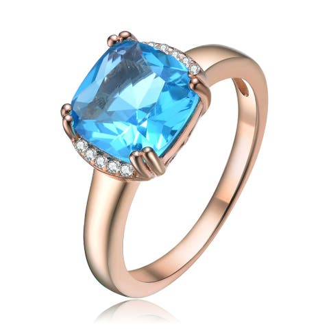 Collette Z Sterling Silver with Rose Gold Plated Topaz Blue Cushion with Clear Round Cubic Zirconia Accent Ring