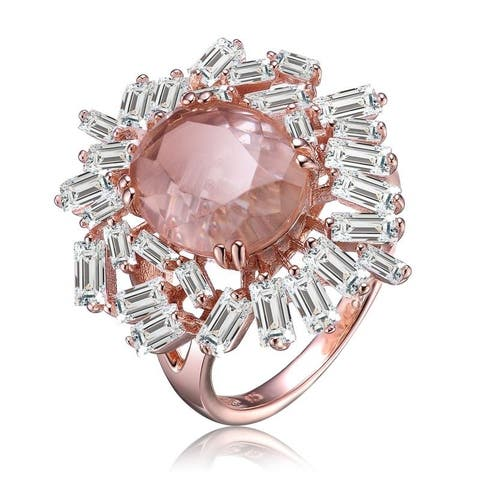 Collette Z White and Peach Cubic Zirconia Flower Shaped Design Rose Gold Plated Sterling Silver