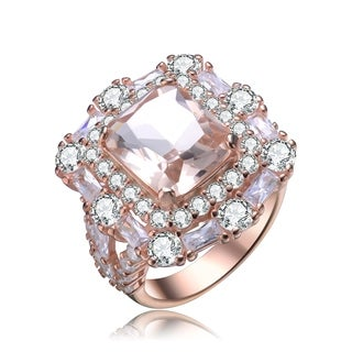 Collette Z Sterling Silver with Rose Gold Plated Morganite Asscher with Clear Round and Baguette Cubic Zirconia Double Halo Ring