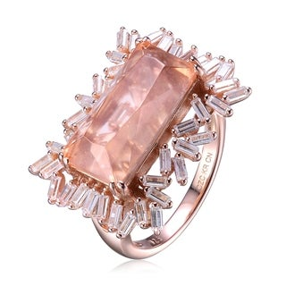 Collette Z Rectangular Shaped Peach and White Cubic Zirconia Rose Gold Plated Ring