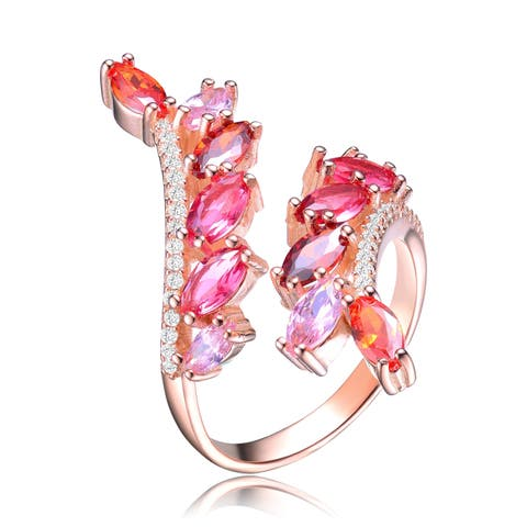 Collette Z Sterling Silver with Rose Gold Plated Variant Red Marquise with Clear Round Cubic Zirconia Accent Bypass Ring