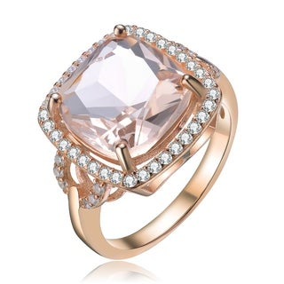 Collette Z Sterling Silver with Rose Gold Plated Morganite Cushion with Clear Round Cubic Zirconia Halo Cocktail Ring
