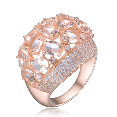 Collette Z White Uniquely Shaped Cubic Zirconia Stone Rose Gold Plated Sterling Silver Ring