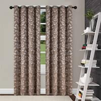 Superior Leaves Insulated Thermal Blackout Grommet Curtain Panel Pair - N/A