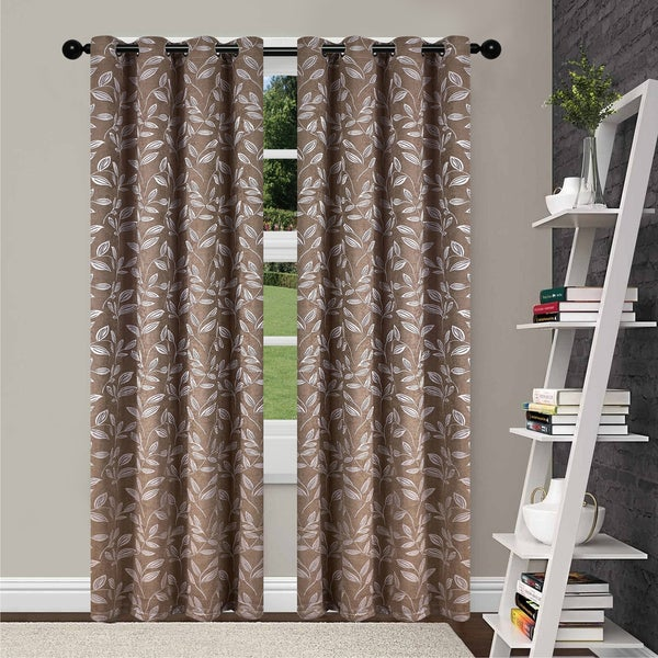 Superior Leaves Insulated Thermal Blackout Grommet Curtain Panel Pair. Opens flyout.