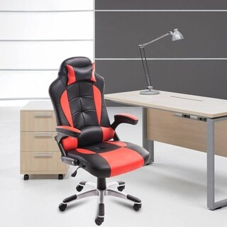 Black&Red Adjusting Headrest High-Back PU Leather Racing Gaming Chair With Armrests