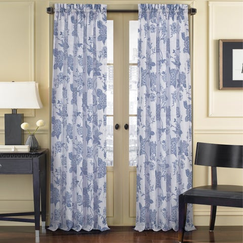 Five Queens Court April Floral Toile Window Sheer Curtain