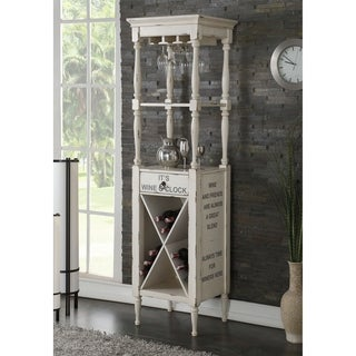 Acme Anthony Antique White Wooden Wine Cabinet