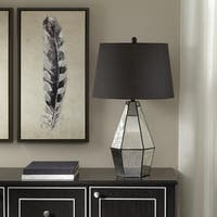 Madison Park Oxford Mirror Table Lamp with Black Drum Shaped Shade