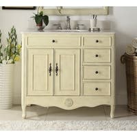 "38"" Benton Collection Daleville Bathroom Vanity wi/ MIR/BS - Cream"