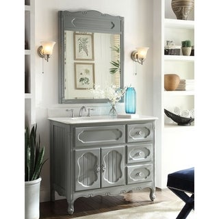 "42"" Gray Cottage Style Knoxville Bathroom Sink Vanity with MIR/BS"
