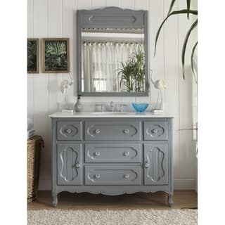 "48"" Grey Cottage-Style Knoxville bathroom sink vanity with MIR/BS"