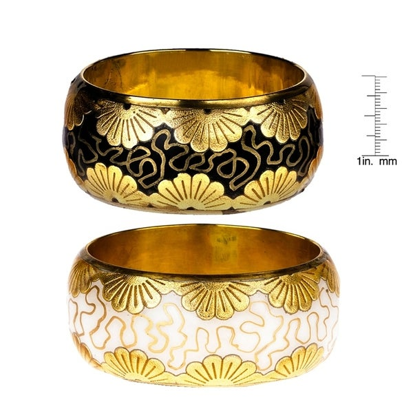 Handmade Saachi Foil Flower Bangle Bracelet - Set of 2 (India)