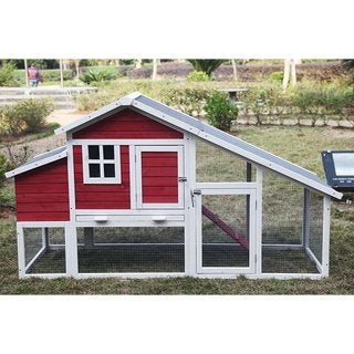 ALEKO Small Pet Chicken Hen Wooden Coop Hutch Cage 80X29.5X45.7 inches