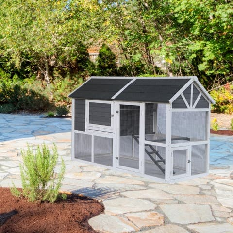 ALEKO Multi Level Chicken Coop Bunny Hutch Small Pet House
