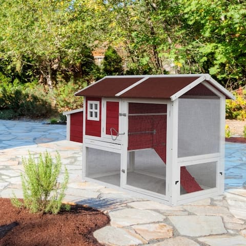 ALEKO Chicken Coop Bunny Hutch with Divided Nesting Area