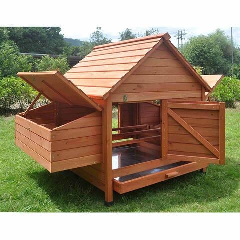 ALEKO 2 Levels Chicken Hen Coop Rabbit Hutch 62 X 39.5 X 45 Inches