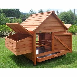 ALEKO 2 Levels Chicken Hen Coop Rabbit Hutch 62 X 39.5 X 45 Inches