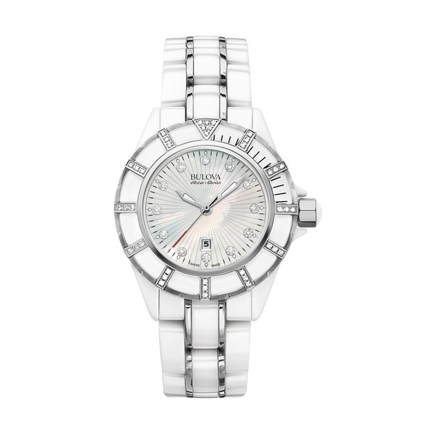 63d9c6f7f Shop Bulova Women's Mirador White Ceramic & Stainless Diamond Accent  Bracelet Watch - Free Shipping Today - Overstock - 19217519