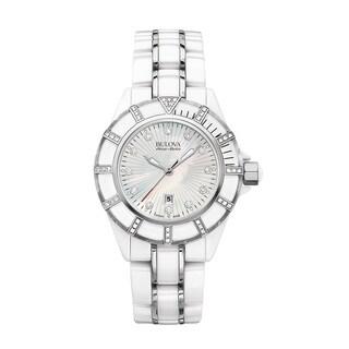 Bulova Women's 65R137 Mirador White Ceramic & Stainless Diamond Accent Bracelet Watch