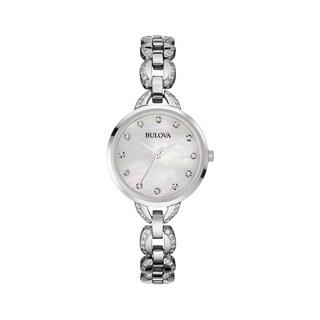 Bulova Women's 96L203 Stainless Silvertone Facets MOP Dial Bracelet Watch