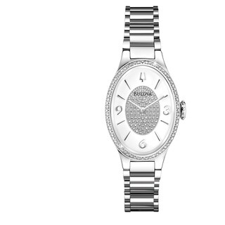 Bulova Women's 96R193 Stainless Oval Diamond Accent Bracelet Watch