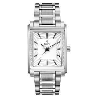 Bulova Men's 96E113 Diamond Case Stainless Bracelet Watch