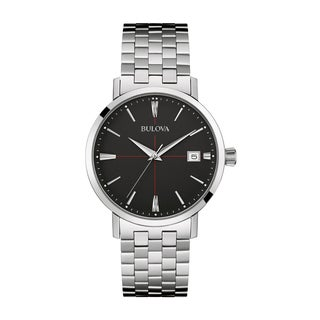 Bulova Men's 96B244 Classic Stainless Black Dial Bracelet Watch