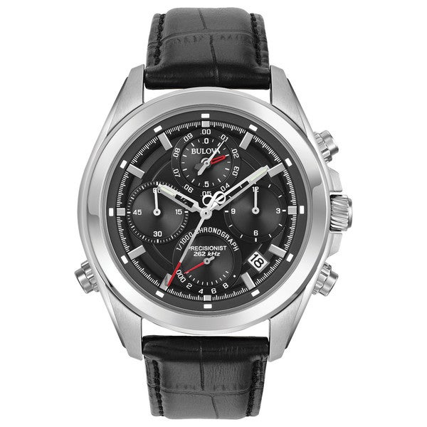 Bulova Men's Precisionist Chronograph Stainless Black Leather Strap Watch