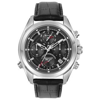 Bulova Men's 96B259 Precisionist Chronograph Stainless Black Leather Strap Watch