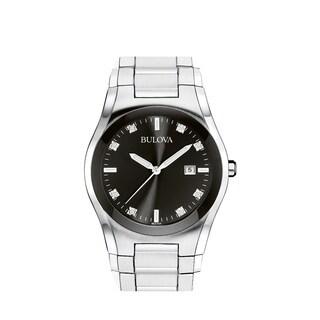 Bulova Men's 96D104 Stainless Black Diamond Dial Bracelet Watch