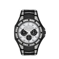 Bulova Men's  Crystal Black Stainless Bracelet Watch
