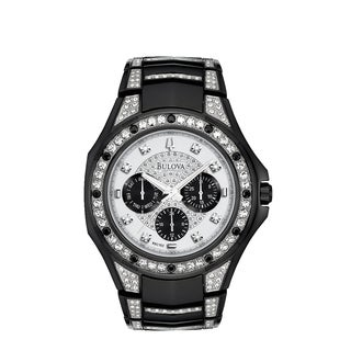 Bulova Men's 98C102 Crystal Black Stainless Bracelet Watch