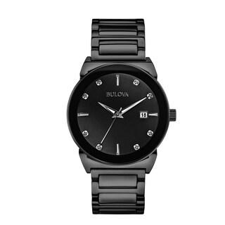Bulova Men's 98D121 Black IP Stainless Diamond Dial Bracelet Watch