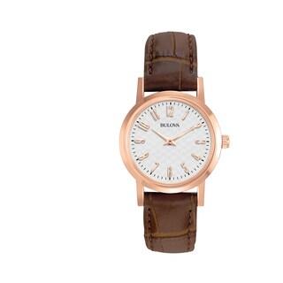 Bulova Women's 97L121 Rose Goldtone Brown Leather Strap Watch