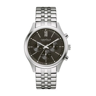 Caravelle NY Men's 43A133 Stainless Chronograph Black Dial Bracelet Watch