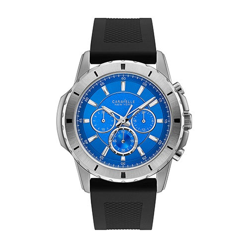 3a6862d88858 Shop Caravelle NY Men s Stainless Chronograph Blue Dial Silicone Strap Watch  - Black - Free Shipping Today - Overstock.com - 19217581