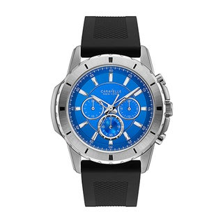 Caravelle NY Men's 43A138 Stainless Chronograph Blue Dial Silicone Strap Watch